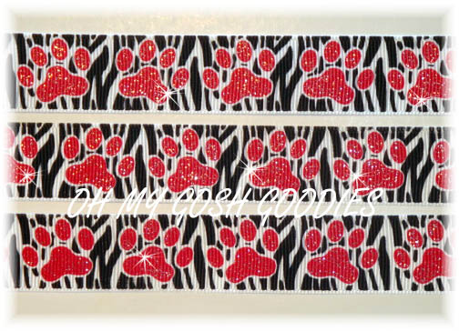 7/8 RED ZEBRA GLITTER PAWS- 5 YARDS
