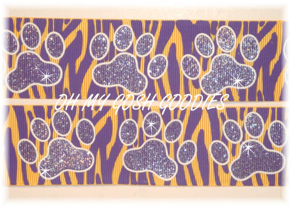 1.5 OOAK PURPLE ZEBRA GLITTER PAWS - 3 YARDS