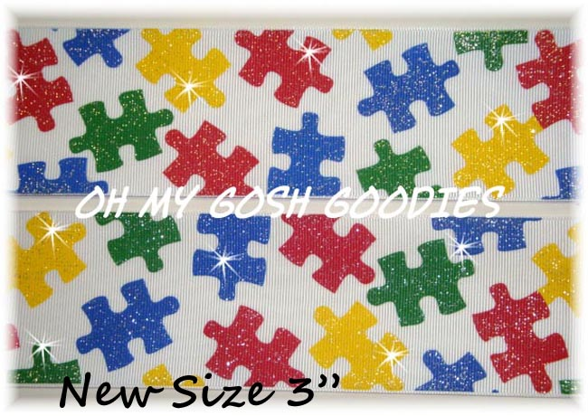 "3"" OOAK GLITTER AUTISM AWARENESS PUZZLE - 4 YARDS"