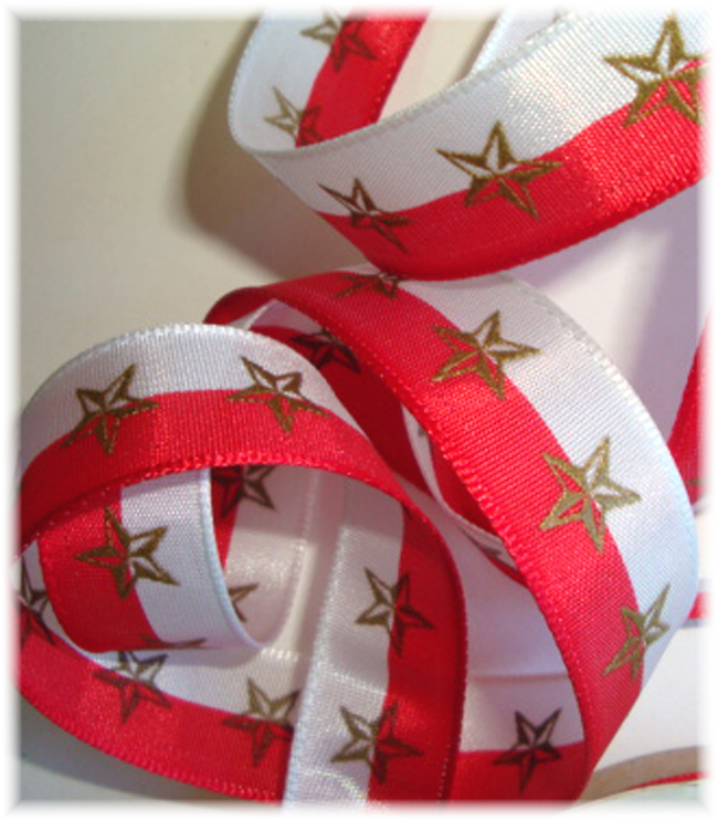 5/8 LAST ONE OFFRAY RED WHITE GOLD STAR - 3 YARDS