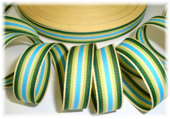 5/8 FOREST YELLOW BLUE PREPPY STRIPE - 5 YARDS