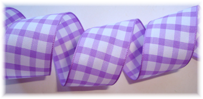 7/8 ORCHID WHITE GINGHAM CHECK - 5 YARDS