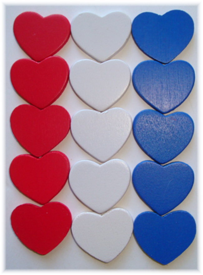 15PC PATRIOTIC WOODEN HEART EMBELLISHMENTS