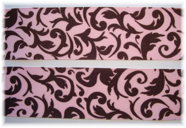 1.5 OOAK * CLASSIC * DAMASK SCROLLS PINK/BROWN - 2 YARDS