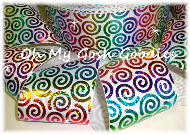 "3"" *TWIRLY * RAINBOW HOLOGRAM SWIRLS WHITE - 5 YARDS"