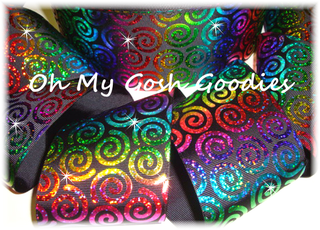 "3"" *TWIRLY * RAINBOW HOLOGRAM SWIRLS BLACK - 5 YARDS"