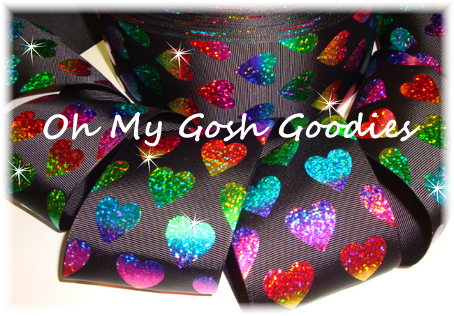 "3"" * RAINBOW HEARTS * HOLOGRAM BLACK - 5 YARDS"