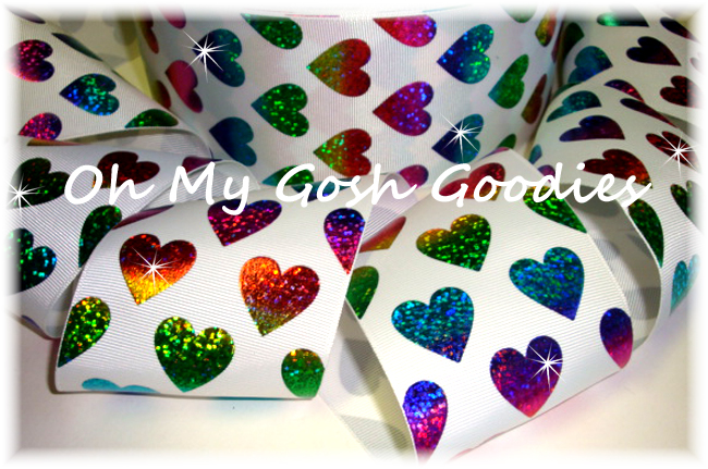"3"" * RAINBOW HEARTS * HOLOGRAM WHITE - 5 YARDS"