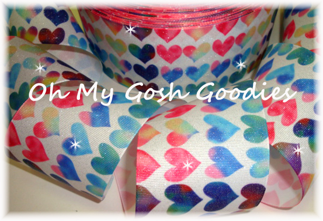 "3"" * GLITTER * MULTI VALENTINE HEARTS  - 5 YARDS"