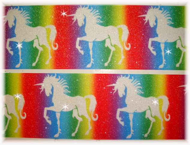 "3"" * GLITTER UNICORN * RAINBOW OMBRE - 5 YARDS"