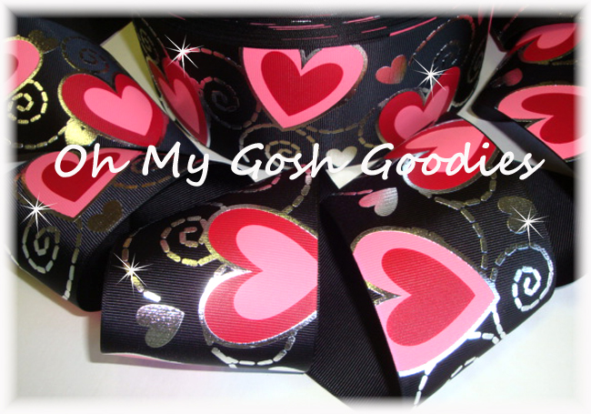 "3"" VALENTINE * SWIRL BLING * PINK RED HEARTS - BLACK - 5 YARDS"