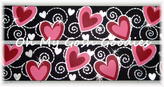 1.5 VALENTINE * SWIRL BLING * PINK RED HEARTS - BLACK - 5 YARDS