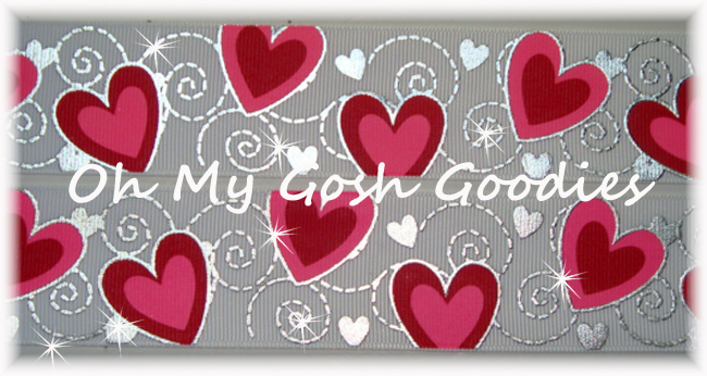 1.5 VALENTINE * SWIRL BLING * PINK RED HEARTS - WHITE - 5 YARDS