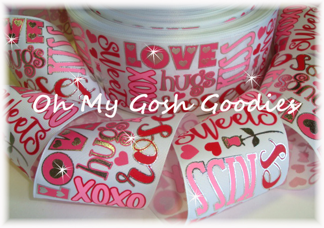 "3"" JUST SAYIN * VALENTINE * LOVE KISSES WHITE - 5 YARDS"