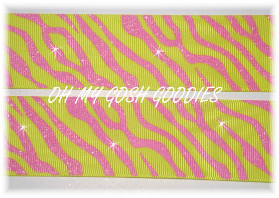 1.5 GLITTER ZEBRA YELLOW PINK - 5 YARDS