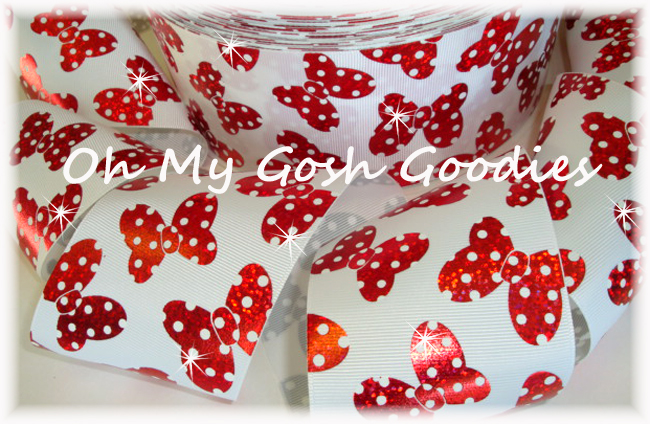 "3"" HOLOGRAM RED POLKA DOT BOWS - 5 YARDS"