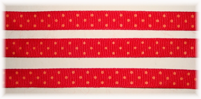 3/8 RED ORANGE SWISS DOTS  - 5 YARDS