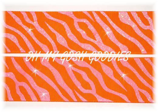 1.5 GLITTER ZEBRA ORANGE PINK - 5 YARDS