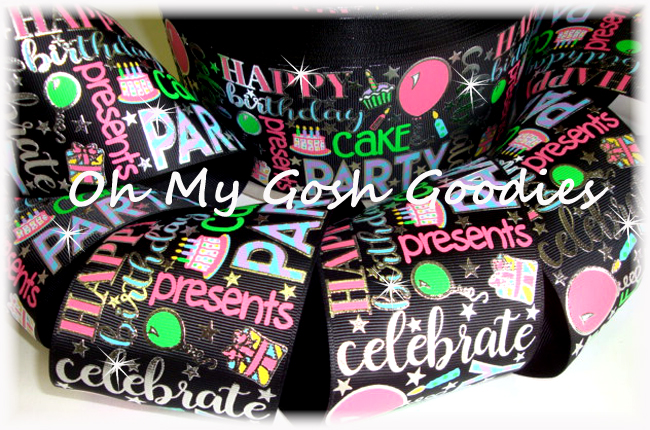 "3"" JUST SAYIN * BIRTHDAY PARTY * BLACK - 5 YARDS"