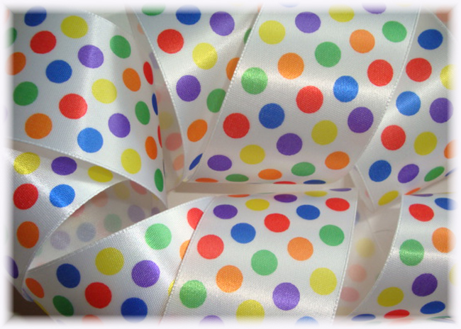 1.5 OFFRAY SATIN BUBBLEGUM DOTS - 5 YARDS