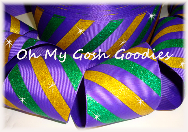 "3"" MARDI GRAS DIAGONAL GLITTER STRIPE - 5 YARDS"