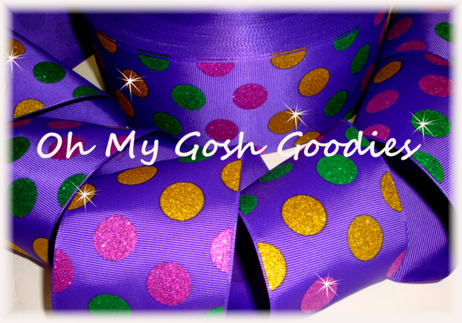 "3"" * DESIGNER GLITTER * MARDI GRAS JUMBO DOTS PURPLE  - 5 YARDS"