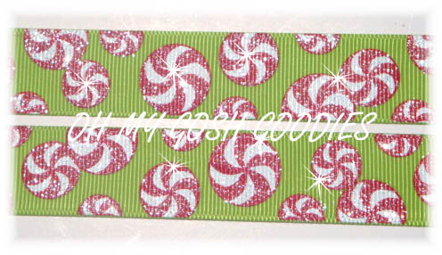 7/8 GLITTER PEPPERMINTS LIME - 5 YARDS