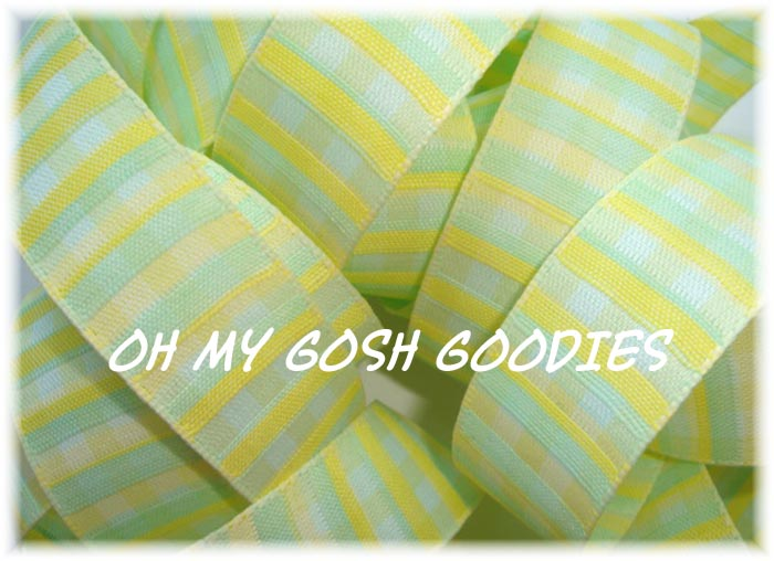 "1"" OFFRAY VERTICAL WOVEN STRIPE YELLOW -  5 YARDS"