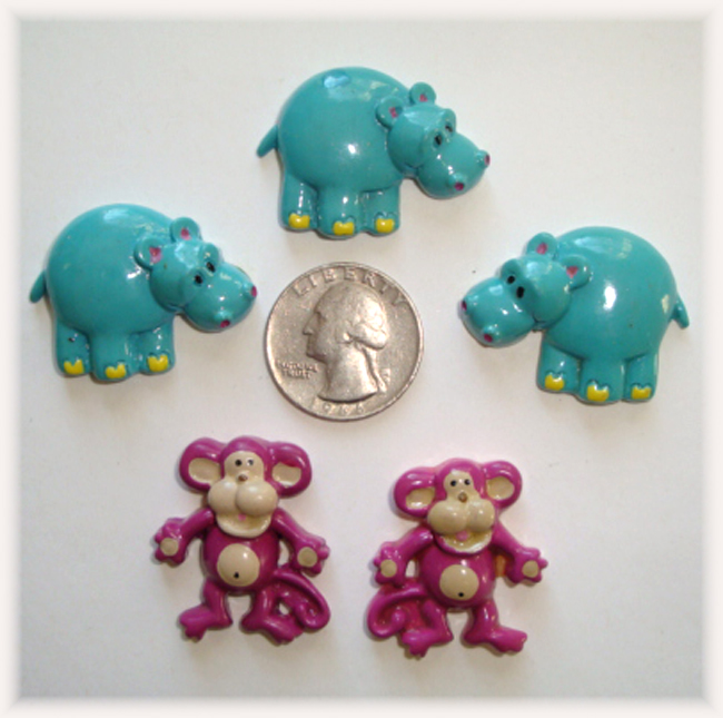 5PC OOAK BLUE HIPPO PURPLE MONKEY RESINS