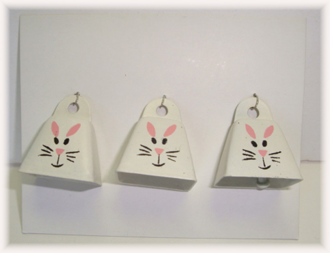 3PC OOAK EASTER BUNNY BELL EMBELLISHMENTS