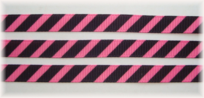 3/8 OOAK PINK BLACK DIAGONAL VENUS STRIPE - 20 YARDS