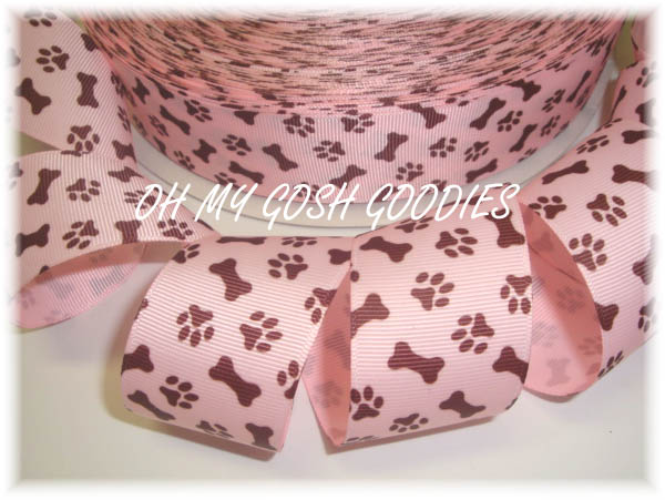 1.5 PUPPY PAWS PINK * BROWN * - 5 YARDS