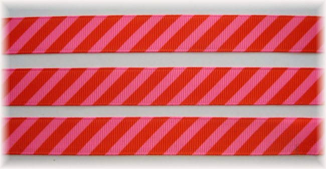 5/8 OOAK ORANGE PINK DIAGONAL VENUS STRIPE - 20 YARDS