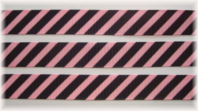 5/8 OOAK PINK BLACK DIAGONAL VENUS STRIPE - 20 YARDS
