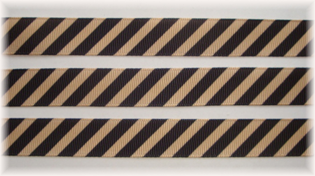 5/8 OOAK KHAKI BLACK DIAGONAL VENUS STRIPE - 20 YARDS