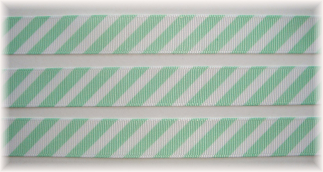 5/8 OOAK MINT WHITE DIAGONAL VENUS STRIPE - 20 YARDS