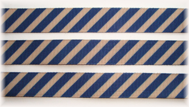 5/8 OOAK KHAKI NAVY DIAGONAL VENUS STRIPE - 20 YARDS