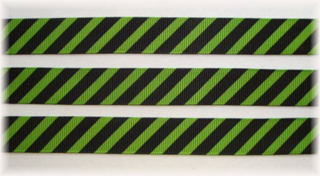 5/8 OOAK LIME BLACK DIAGONAL VENUS STRIPE - 20 YARDS