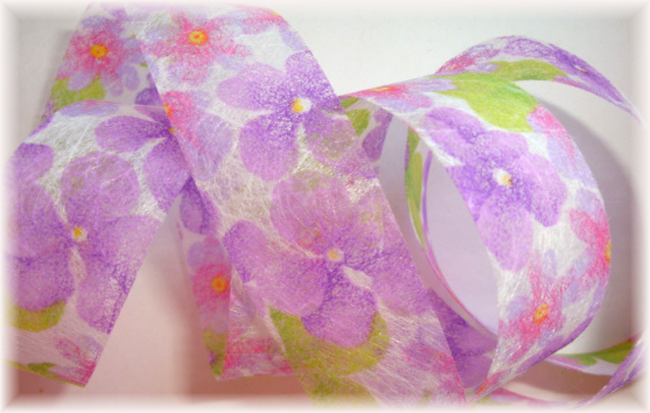7/8 SPRING ORCHID FLORAL CRAFT RIBBON - 5 YARDS