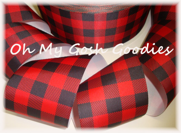 "3"" * CLASSIC * RED BLACK BUFFALO PLAID CHECK - 5 YARDS"