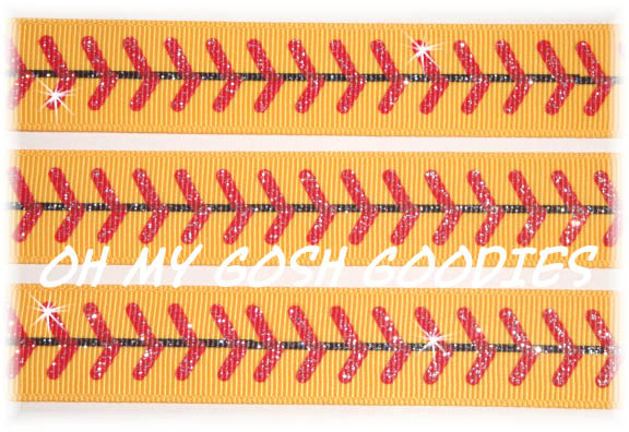 7/8 GLITTER RED STITCH SOFTBALL YELLOW- 5 YARDS