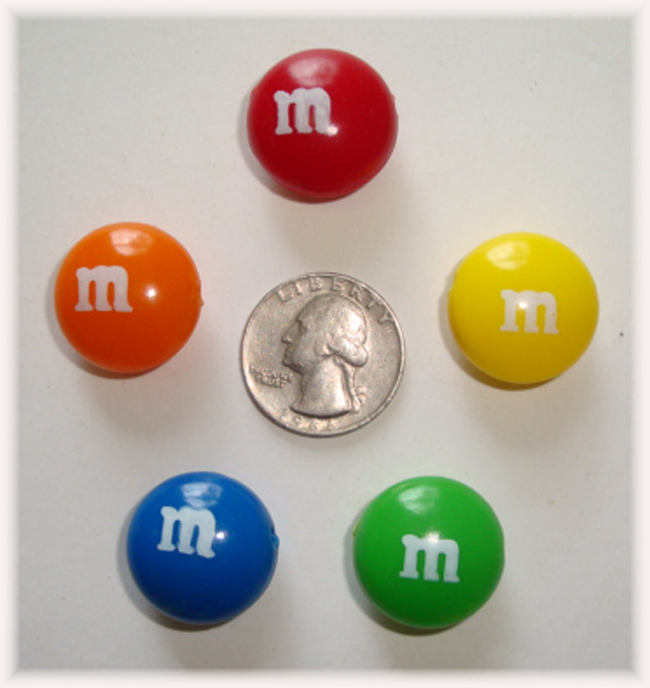 5PC LICENSED M&M HAIRBOW CRAFT EMBELLISHMENTS