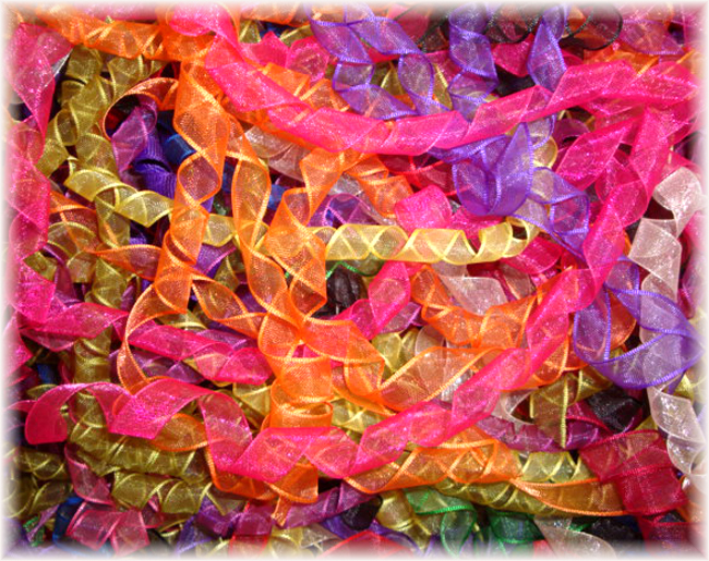 3/8 25PC IRREGULAR KORKER MULTI ORGANZA MIX - KO5