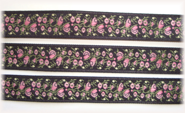 5/8 PINK BLACK FLOWERS  JACQUARD - 5 YARDS