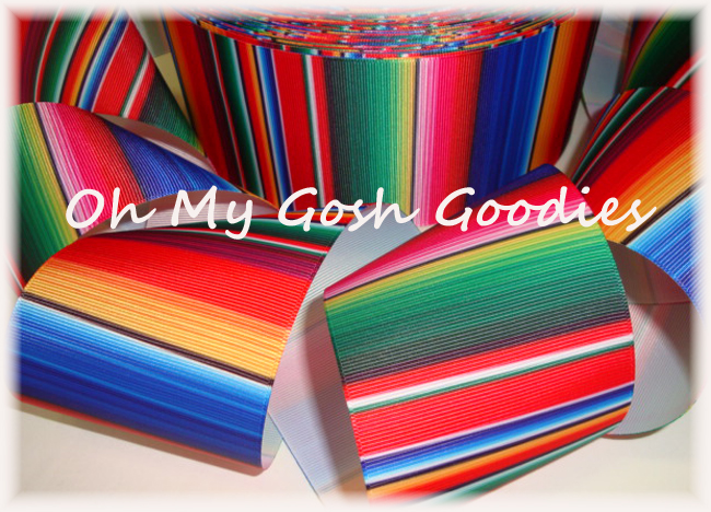 "3"" SERAPE STRIPE FIESTA RIBBON - 5 YARDS"