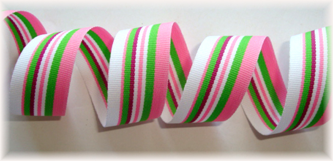 5/8 OOAK PINK LIME WHITE PREPPY STRIPE - 20 YARD ROLL