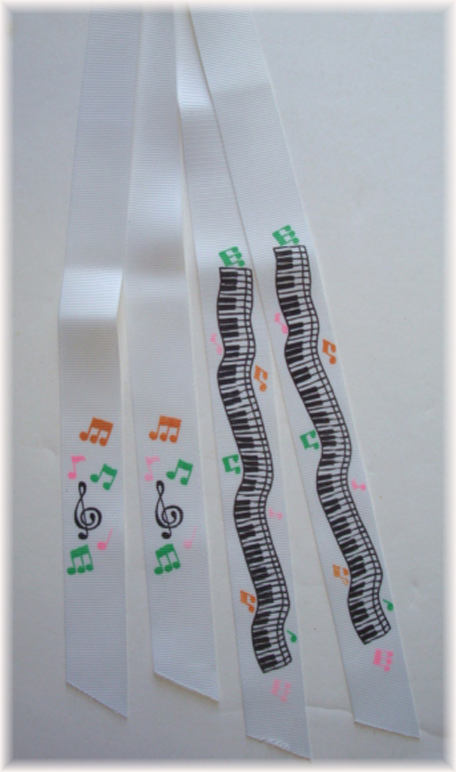 2PC CUSTOM DESIGNER PONYTAIL RIBBONS - PIANO KEYS