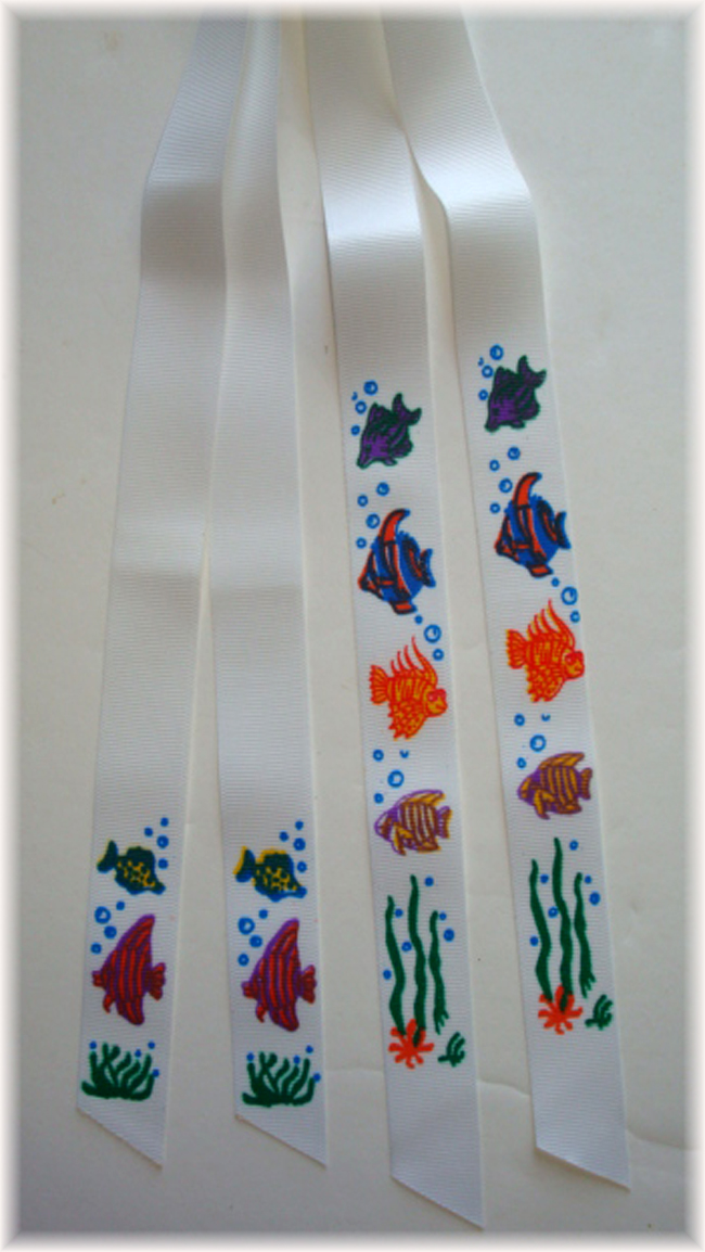 2PC CUSTOM DESIGNER PONYTAIL RIBBONS - FISH
