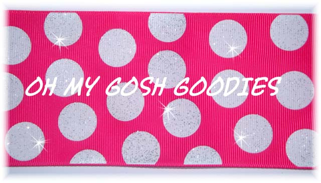 "3"" OOAK GLITTER CHEER DOTS SHOCKING PINK WHITE - 4 YARDS"