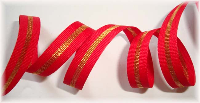3/8 CHRISTMAS RED GOLD STRIPE BLING - 5 YARDS